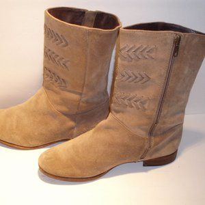 UGG Australia Carilyn Fawn Suede Leather Boots 8.5